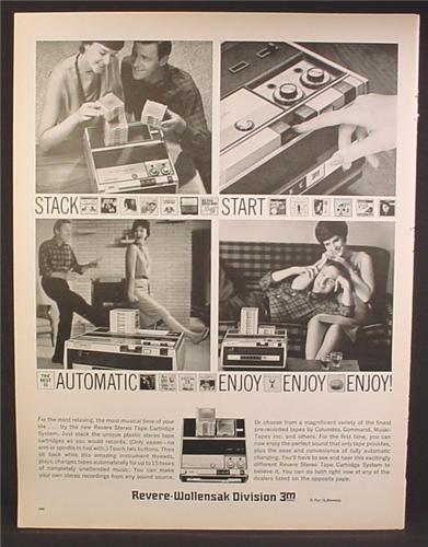Magazine Ad For Revere Stereo Tape Cartridge System, Drop In A Stack of Cartridges, 1963