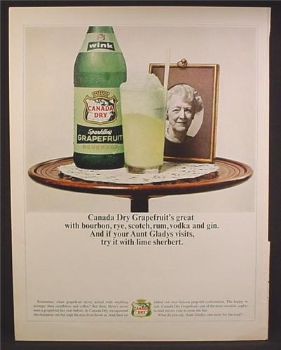 Magazine Ad For Canada Dry Wink Sparkling Grapefruit Drink, Aunt Gladys, 1964