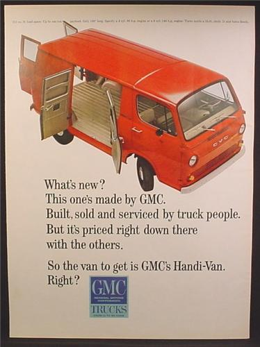 Magazine Ad For GMC Trucks Handi-Van, Side & Front Views, Doors Open, 1964