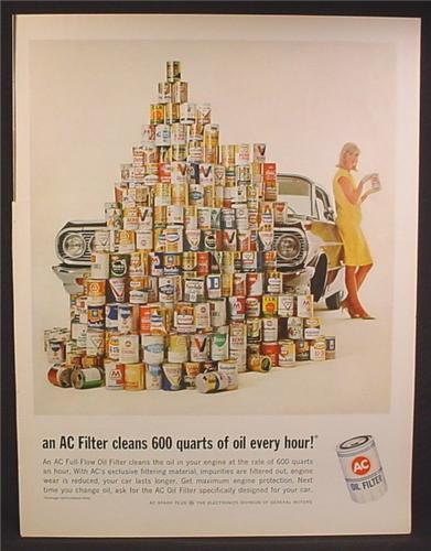 Magazine Ad For AC Oil Filter, Huge Stack of Different Motor Oil Cans, Lots of Brands, 1964