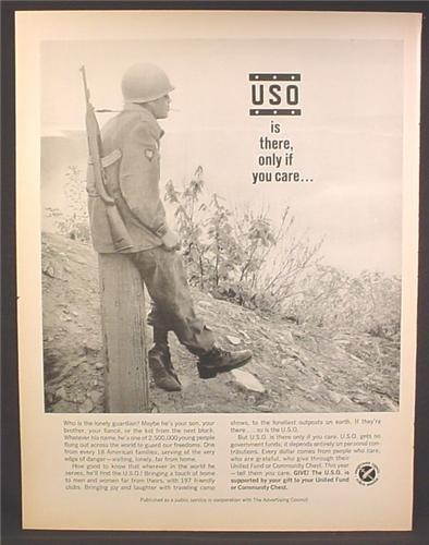 Magazine Ad For USO Is There Only If You Care, Lonely Soldier, 1964