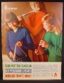 Magazine Ad For Penlander Classics, Penney's, 3 Girls Playing the Flute Recorder & Triangle, 1964