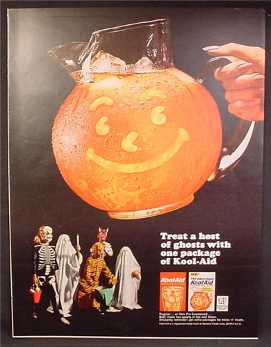 Magazine Ad For Kool-Aid, New Pre-Sweetened, Kids in Halloween Costumes, 1964
