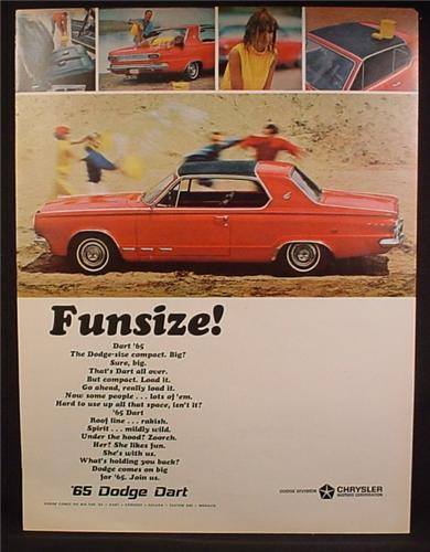 Magazine Ad For 1965 Dodge Dart Car, On The Beach, Red & Black, Side View, 1964