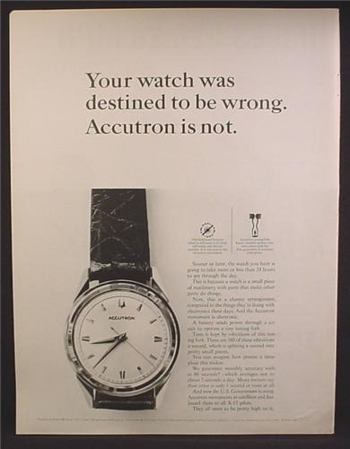 Magazine Ad For Accutron Watch, Your Watch Was Destined To Be Wrong, 1964