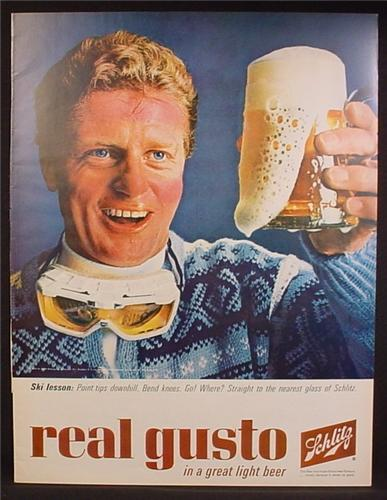 Magazine Ad For Schlitz Beer, Real Gusto, Skiing Lesson, Point Tips Downhill, Bend Knees, 1964
