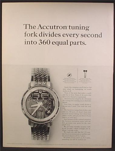 Magazine Ad For Accutron Watches, The Accutron Tuning Fork, Interior View, 1964