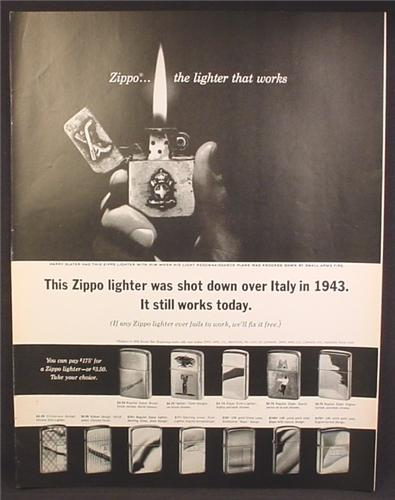 Magazine Ad For Zippo Lighters, 12 Models Shown, Shot Down Over Italy in 1943, 1964