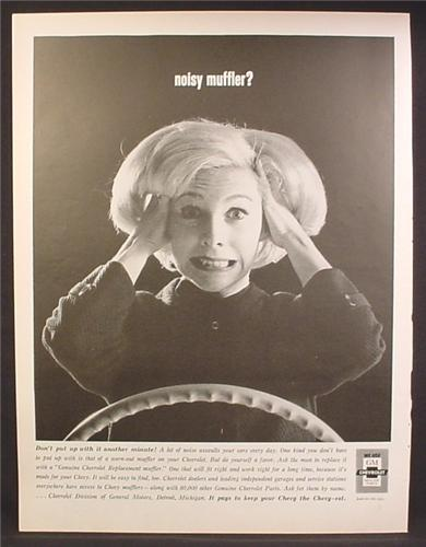 Magazine Ad For GM Chevrolet Car Parts, Noisy Muffler, Distraught Woman Covering Ears, 1964