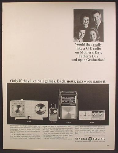 Magazine Ad For GE General Electric Radios, 4 Models Shown, Portable, Table, Clock, 1964