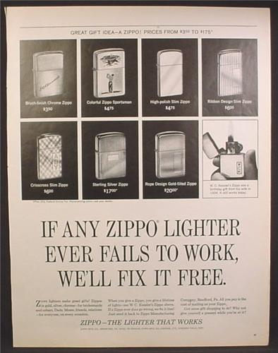 Magazine Ad For Zippo Lighters, 7 Models Shown, Fails to Work We'll Fix it Free, 1965