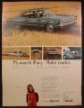 Magazine Ad For Plymouth Fury Car, Make Tracks, Front & Side Views, 1965