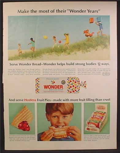 Magazine Ad For Wonder Bread & hostess Fruit Pies, Store Display, 1966