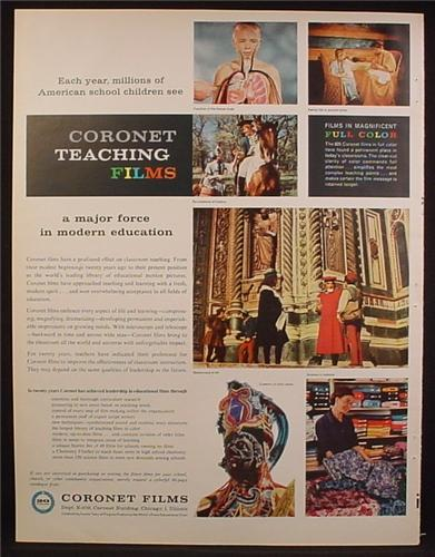Magazine Ad For Coronet Teaching Films, Educational Films Used By Schools, 1959