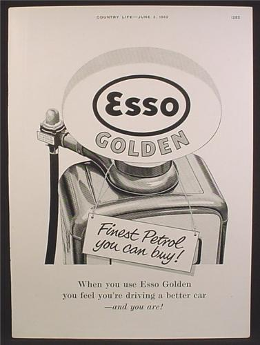 Magazine Ad For Esso Golden Gasoline, Gas Pump, Finest Petrol You Can Buy, 1960