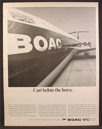 Magazine Ad For BOAC VC10 Jet Airplane, Looking Along Fuselage to Tail, 1967