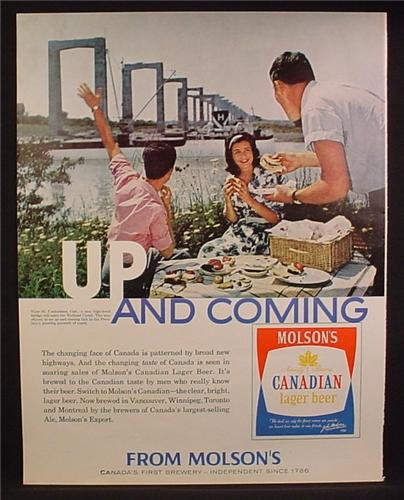 Magazine Ad For Molson's Canadian Lager Beer, View Of The Welland Canal, 1962