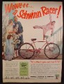 Magazine Ad For Schwinn 3-Speed Racer Bicycle, Bike, Christmas Present, 1955