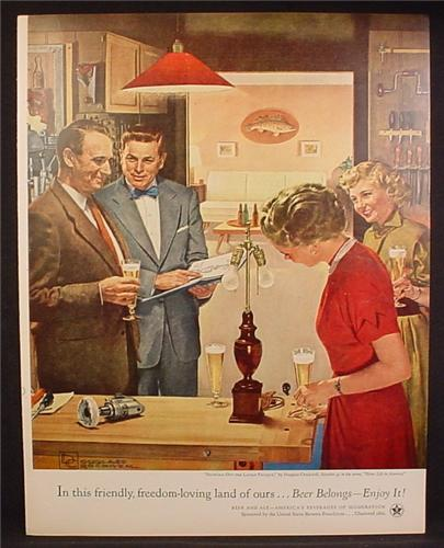 Magazine Ad For Beer Belongs, Number 91, Showing Off The Latest Project Douglass Crockwell 1953