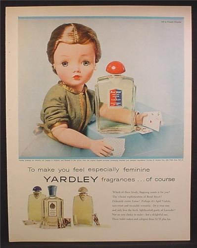 Magazine Ad For Yardley Fragrances, Doll With Playing Cards, Bond Street Toilet Water, 1957
