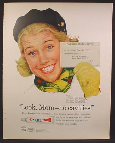 Magazine Ad For Crest Tooth Paste, Patricia With Card From Dentist, No Cavities, Norman Rockwell