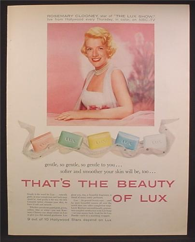 Magazine Ad For Lux Soap. Rosemary Clooney, Celebrity Endorsement, 5 Soap Bar Colors, 1958
