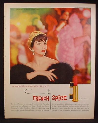 Magazine Ad For French Spice Lipstick by Coty, Plum-Luscious Scarlet With A Kick In It, 1958