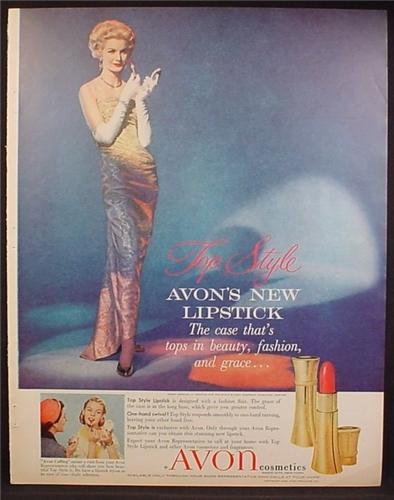 Magazine Ad For Avon Cosmetics, Top Style, New Lipstick, Elegant Woman in Gown, 1957