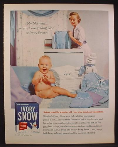 Magazine Ad For Ivory Snow Laundry Detergent, Baby Beside Folded Diapers, Snowman Mascot