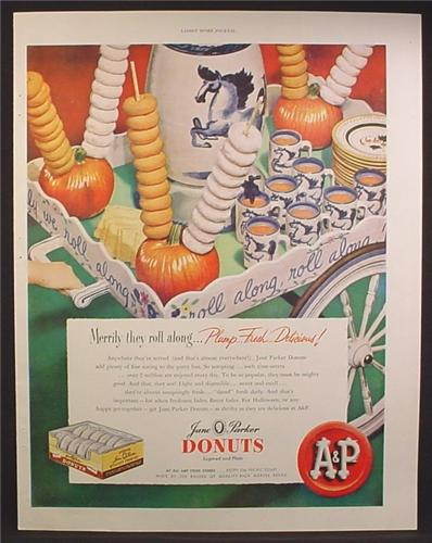 Magazine Ad For Jane Parker Donuts, Tea Cart with Drinks & Donuts, 1948