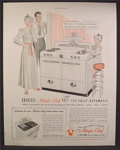 Outstanding Magazine Ad For Magic Chef Gas Range Stove Little Girl On Stool Cooking Very Safe 1948 Creativecarmelina Interior Chair Design Creativecarmelinacom