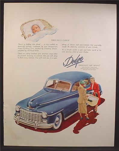 Magazine Ad For Dodge Car, Front & Top View, Mother with Baby in Basket, Precious Cargo, 1948