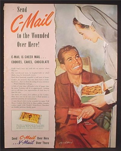 Magazine Ad For Send C-Mail, Cheer Mail to Wounded Soldiers, WWII, Cookies Cake, 1944