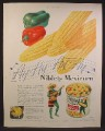 Magazine Ad For Niblets Mexicorn, Jolly Green Giant in Sombrero & Serape Singing Ay Ay Ay Ay, 1944