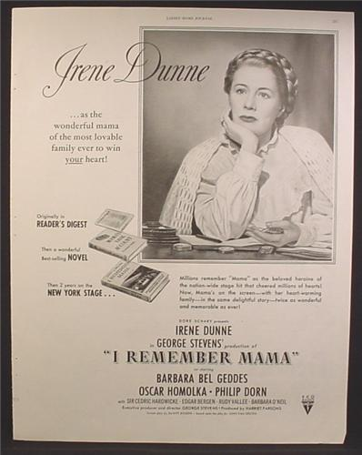 Magazine Ad For I Remember Mama Movie, Irene Dunne, RKO, 1944