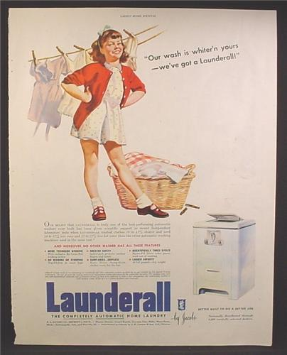 Magazine Ad For Launderall Automatic Home Laundry, Girl With Laundry Basket & Clothesline, 1944