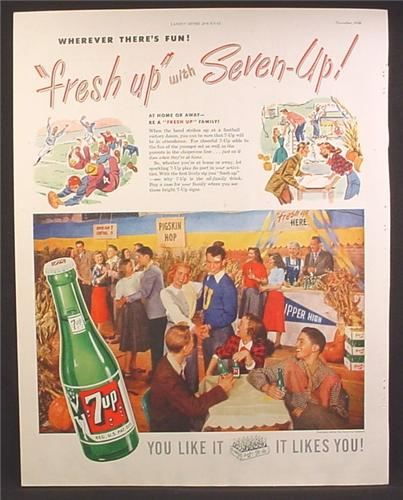 Magazine Ad For 7UP Seven-Up, School Dance, Wherever There's Fun, 1948