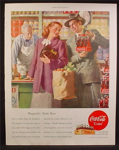 Magazine Ad For Coca-Cola Coke, Wooden Case, Grocery Store, Triangular Case, 1948