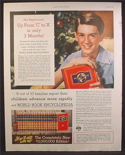 Magazine Ad For World Book Encyclopedia, Report Card Up From C to A in 3 Months, 1948