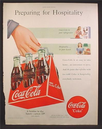 Magazine Ad For Coca-Cola Coke, 6 Bottles in Trangular Shape Carton, Triangle Case, 1948