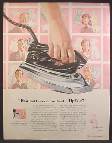 Magazine Ad For Yale & Towne TipToe Iron, Tip Toe, Ironing, 1948