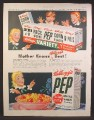 Magazine Ad For Kellogg's Pep Whole Wheat Flakes Cereal, Variety Pack, 1948