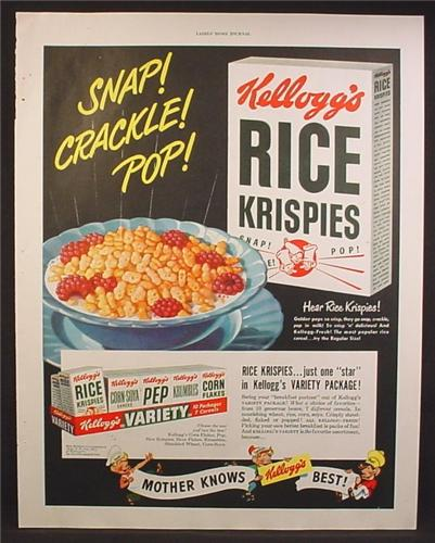 Magazine Ad For Kellogg S Rice Krispies Cereal Variety