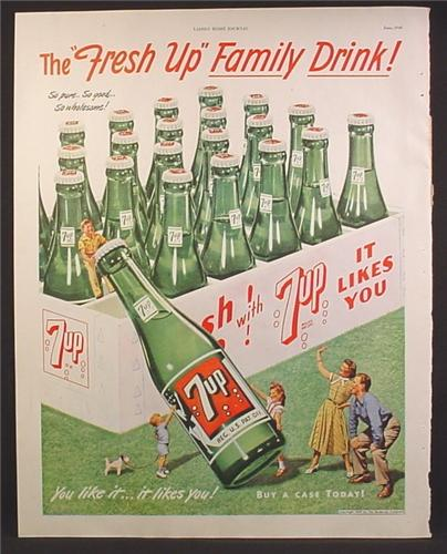 Magazine Ad For 7UP Seven-Up, Little People with Giant Case of Bottles, 1948