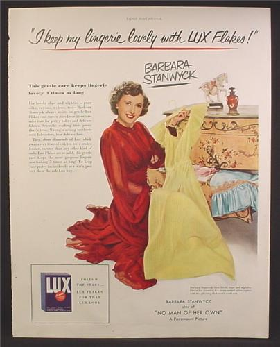 Magazine Ad For Lux Flakes, Laundry Soap, Barbara Stanwyck, I keep My Lingerie Lovely, 1950