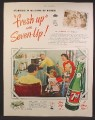 Magazine Ad For 7UP Seven-Up, Starring in Millions Of Homes, Family with TV, 1950