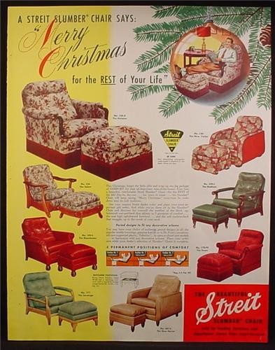 Magazine Ad For Streit Slumber Chair Furniture, 8 Models Pictured, 1950