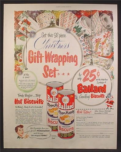 Magazine Ad For Ballard Oven Ready Biscuits, Gift Wrapping Set Offer, 1950