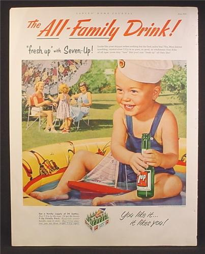Magazine Ad For 7UP Seven-Up, Little Boy Sailor Hat Sitting in Wading Pool With Bottle of 7UP, 1953