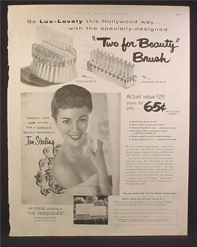 Magazine Ad For Lux Soap Two For Beauty Brush Offer, Jan Sterling, Celebrity Endorsement, 1953